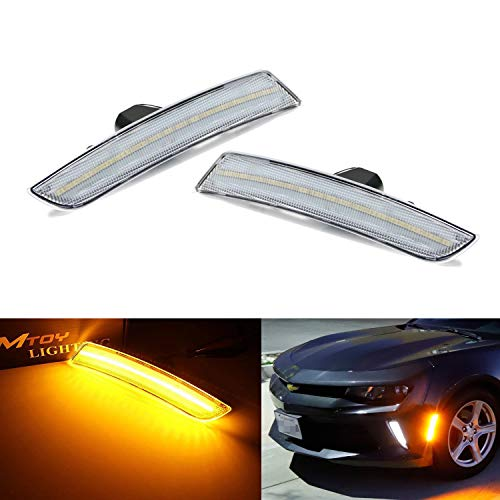 iJDMTOY Clear Lens Amber Full LED Front Side Marker Light Kit For 2016-up Chevy Camaro, 2014-up Cadillac CTS, 2015-up Cadillac ATS, Powered by 45-SMD LED, Replace OEM Sidemarker Lamps ()