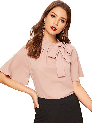 Side Bow Tie Neck Short Sleeve Blouse Shirt Top (Medium, Pink) ()