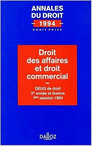 Livres gratuits Droit des affaires et droit commercial : DEUG de droit 2e année et licence, 1ère session 199 pdf, epub