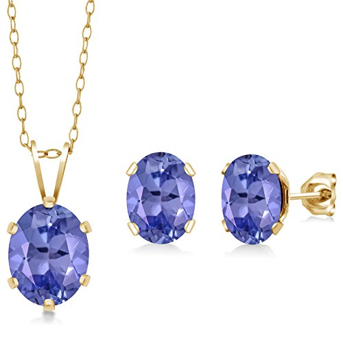 Gem Stone King 2.66 Ct Oval Blue Tanzanite Gold Plated Silver Pendant Earrings Set