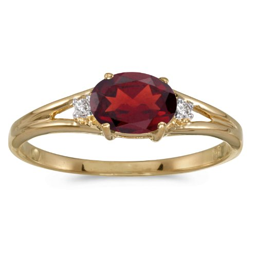 14k Yellow Gold Oval Garnet And Diamond Ring (Size 6) - Ring Garnet 14k Gold Natural