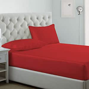 iBed home Fitted bedsheet 2Pcs Set, Microfiber,Single Size, Red