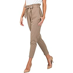 BerryGo Women's Casual Loose High Waist Stretchy Skinny Slim Long Pants (Light Tan,XL)