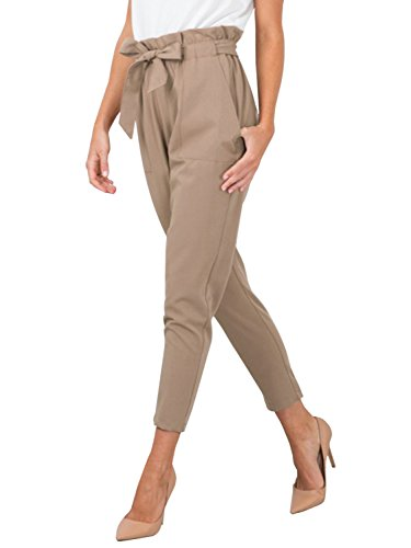 (BerryGo Women's Casual Loose High Waist Stretchy Skinny Slim Long Pants (Light Tan,L))