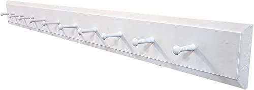Wall Coat Rack with Pegs – 4 Long Solid Cottage White