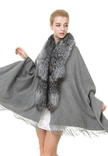 Vogueearth Women 2 Material Choose Autumn Winter Big Shawl Fox Gray by vogueearth