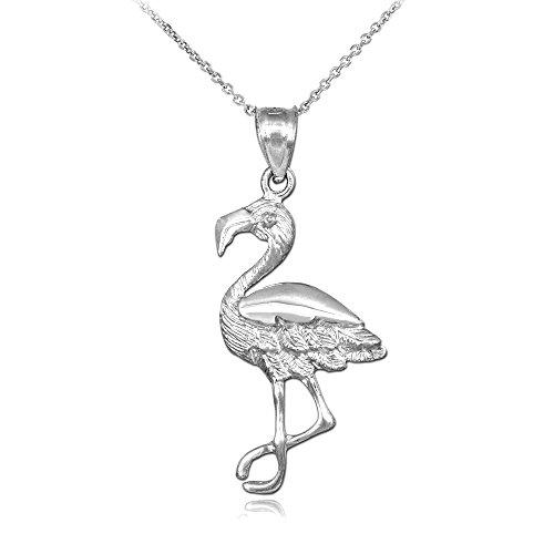 Animal Kingdom 925 Sterling Silver Flamingo Charm Pendant Necklace, 22
