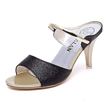 LvYuan Tacón Kitten-Confort-Sandalias-Vestido Informal-PU-Negro Morado Plata Oro Silver