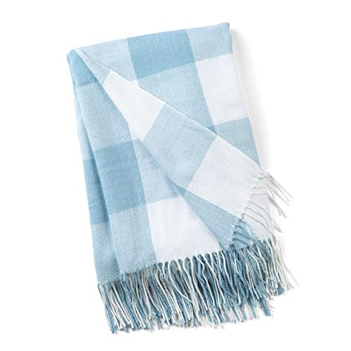 GOOD MANORS Buffalo Plaid Throw Blanket with Fringe, Farmhouse Check Pattern, Ultra Lightweight 15 oz, Woven Soft Breathable Stylish, 50 x 60 in. (Sky Blue)