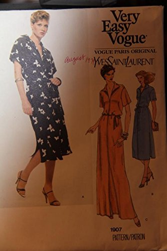 (Very Easy Vogue Pattern 1907 Size 12 - Misses' Dress And Belt - (uncut pattern))