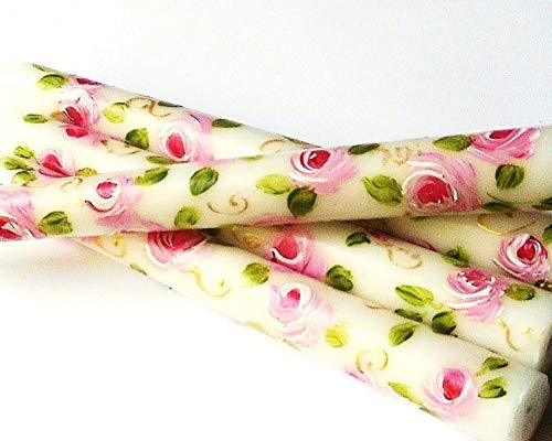 Decorated Short Ivory Taper Flower Candles With Hand Painted Pink Roses