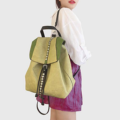 Pu Coolives In Pelle Marrone Cordoncino Zaino Secchiello Donna Morbida Borsa Con Viola A Borchie zYzrq