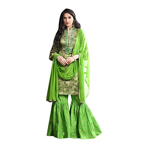 Indian Ethnic Bridal Wedding Heavy Embroidery Muslim Sharara Suit Georgette Green 7194 (Punjabi Best Shayari Ever)