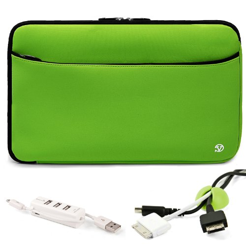 Vangoddy Mobile Carry On Travelling Convinient Soft Neoprene Sleeve Case For SONY VAIO T Series 13.3-Inch Touchscreen Ultrabook + Green Cable Organizer + White 3 Port USB HUB with Micro USB Charger