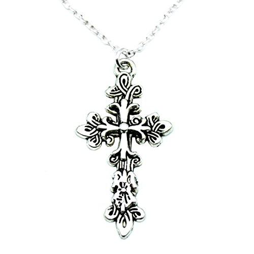Ornate Cross Silver Charm ()