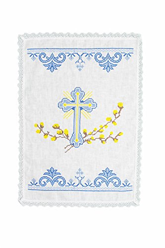 Glazdov Easter Basket Cover, Ukrainian Embroidered Easter Napkin, Ukrainian Easter Cover for Basket, Blue Embroidery