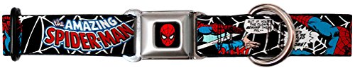 "Buckle-Down 16-23"" MARVEL COMICS Spider-Man in Action2 w/AMAZING SPIDER-MAN Dog Collar, Wide Medium"