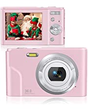 $41 » Rosdeca 36 Mega Pixels Digital Video Camera for Photography, 1080P Rechargeable Compact Kids Camera with 16x Digital Zoom, Point and Shoot Camera with 2 Batteries - Pink