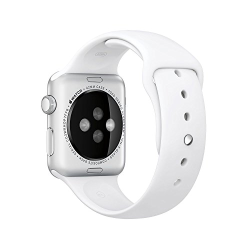 Review Original Apple Watch 42mm (fits 5.5″ – 8.2″ wrists) – Silver Aluminum Case, White Sport Band Edition (Retail Packaging)