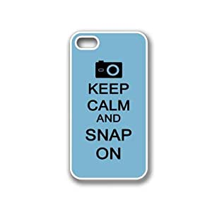 Keep Calm And Snap On Aqua - Protective Designer WHITE Case - Fits Apple iPhone 4 / 4S / 4G