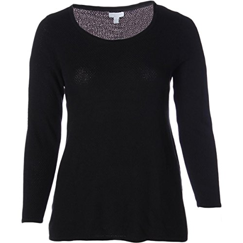 Charter Club Womens Plus Basket Weave Long Sleeve Pullover Sweater Black 1X