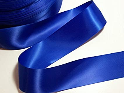 Ruban en satin double face idé al pour papiers cadeaux ou fleurs Bleu roi 25 mm x 5 m