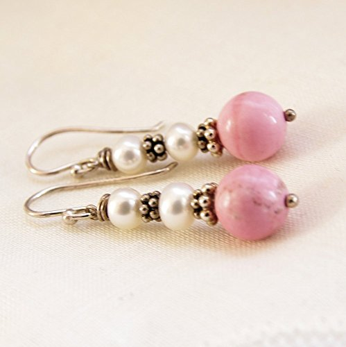 - Pink Beaded Earrings White Pearl Freshwater Cultured Sterling Silver Magnesite Stone