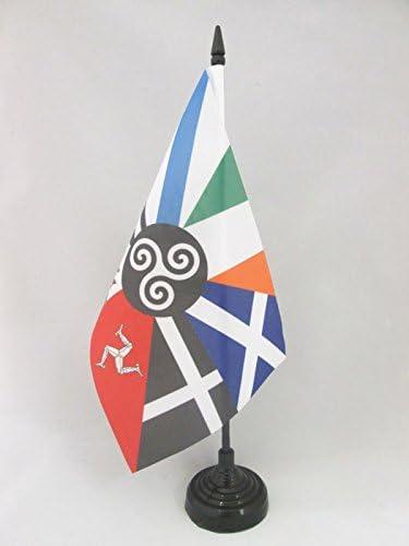 Piccola BANDIERINA CELTICA AZ FLAG Bandiera da Tavolo Celta Sei Nazioni 21x14cm Paesi CELTICI 14 x 21 cm