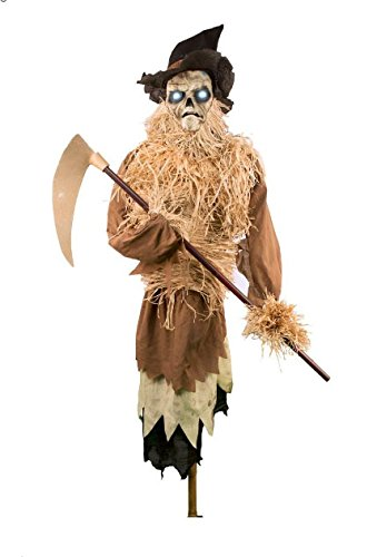 [7ft Animated Harvester Talking Scarecrow Halloween prop - sound activated] (Halloween Animatronics)