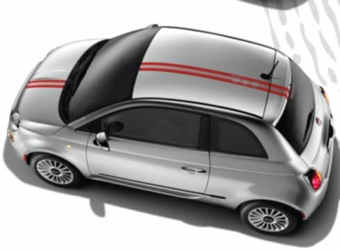 Fiat Genuine Accessories 82212666 Red Thin Double Stripes Roof Decal Kit 500//500C