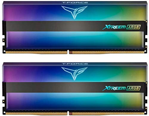 TEAMGROUP T-Force Xtreem ARGB 3200MHz CL14 16GB Kit (2x8GB) PC4-25600 (Addressable RGB) Dual Channel DDR4 SDRAM Desktop Gaming Memory Module Ram 1.35V Full Mirror ARGB - TF10D416G3200HC14BDC01