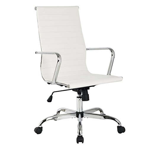 Giantex Modern PU Leather Ergonomic High Back Office Chair Executive Computer Desk (High Back, White)