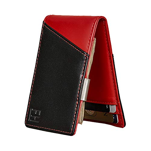 F&H Signature Slim RFID Money Clip Wallet in Top Grain Leather (Black/Red)