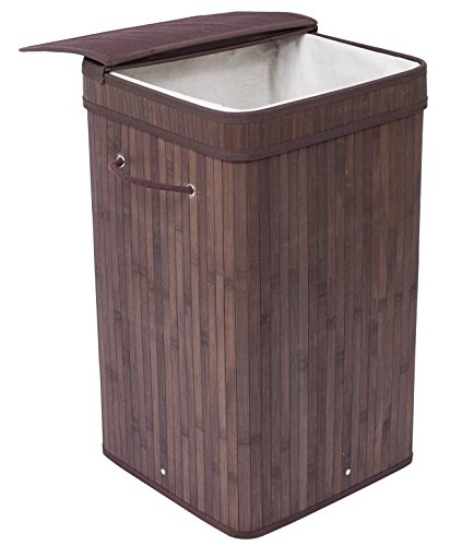 BirdRock Home Square Laundry Hamper with Lid and Cloth Liner | Bamboo | Espresso | Easily Transport Laundry Basket | Collapsible Hamper | String Handles by BirdRock Home (Image #4)