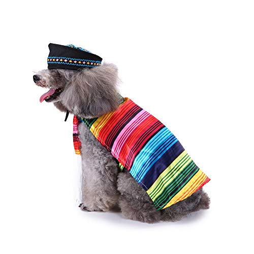 Coppthinktu Mexican Sarape Dog Costume Sombrero Pet Poncho ()