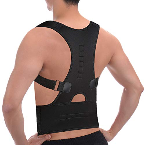 CFR Magnetic Posture Corrector Back Braces Shoulder Waist Lumbar Support Belt Humpback Prevent Body Straighten Slouch Compression Pain Relief - Black,XL UPS Post ()
