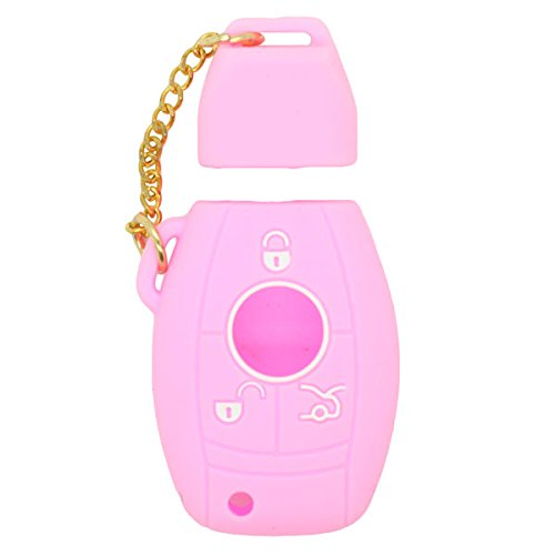 DSP Silicone Cover Skin Jacket for MERCEDES BENZ Smart Key CV2951 Pink