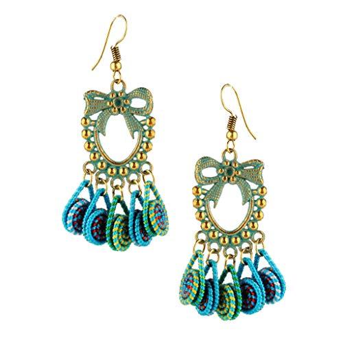 Women Antique Gold Alloy Bowknot Dangle Drop Earrings Tassel Hook Earrings Necklace Jewelry Crafting Key Chain Bracelet Pendants Accessories Best| Color - Blue Green