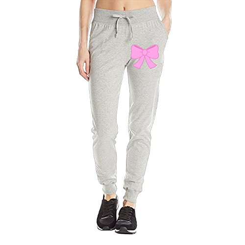 Losport Women's Pink Ribbon Cotton Joggers Pants Slim Fit Bottoms Running Trousers With Pockets M Ash