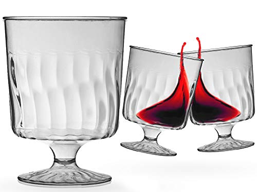 Plastic Wine Glasses - 240 Pcs Disposable Hard Plastic Clear Wine Stems - 8 oz Red Wine Tumblers - Bulk Party Cup Supplies - Cocktail Drinking Glasses for Weddings, Birthday Parties & Other Occasions