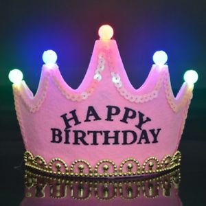 Skky Bell Happy Birthday Crown Hat Silver Glitter With Led Light Best For Birthday Gift