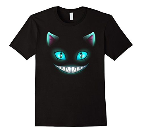 Mens Cat Face Shirt Blue glowing eyes Halloween Costume Gift 2XL (Glowing Eyes Costumes)