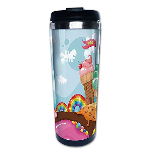 Stainless Steel Insulated Coffee Travel Mug,with Rainbow Candies Lollipop Trees Cupcake,Spill Proof Flip Lid Insulated Coffee cup Keeps Hot or Cold 13.6oz(400 ml) Customizable printing ()