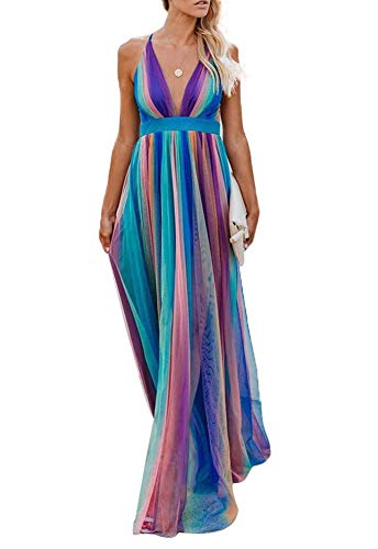(Remelon Womens Sexy Spaghetti Strap Deep V Neck Floral Boho Stripe Criss Cross Backless Chiffon Beach Party Long Maxi Dress Blue Purple M)