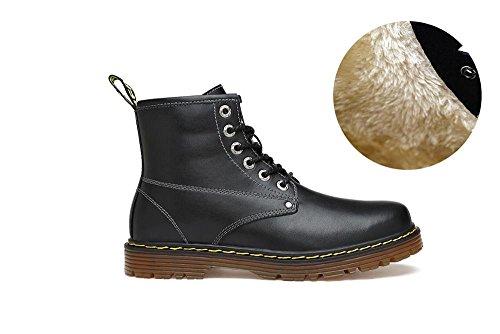 caldo Toe pelle YFF Up with Plush Vera Stivaletti Black Lace uomini Round inverno per cxrxFwtq58