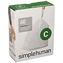 simplehuman Code C Custom Fit Trash Can Can Liners 10-12 Liter / 2.6-3.2 Gallon, 60 Count