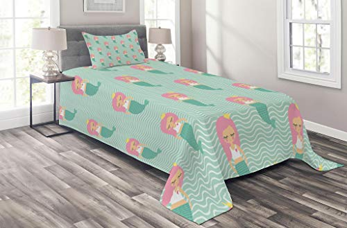 Lunarable Mermaid Coverlet Set Twin Size, Pink Haired Mermaid Girls with Crowns Young Princess Underwater, 2 Piece Decorative Quilted Bedspread Set with 1 Pillow Sham, Mint Green