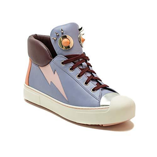 (Fendi Women's Leather Lighting High-Top Sneaker Shoes Blue/Pink/Purple)