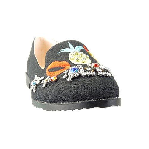 Angkorly - Scarpe da Moda Mocassini slip-on suola di sneaker donna ricamo gioielli fantasia Tacco a blocco 2 CM - Nero