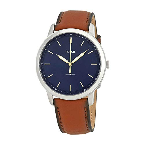 (Fossil Men's The Minimalist Quartz Stainless Steel and Leather Casual Watch, Color: Silver-Tone, Brown (Model: FS5304))